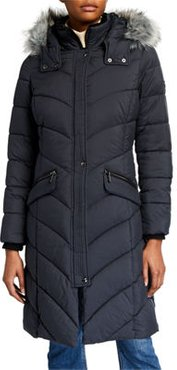 Puffer Coat With Insert Bib With Faux Fur Hood