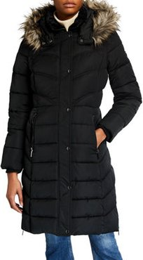 Puffer Coat With Faux-Fur Hood