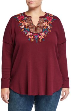 Plus Size Katrina Embroidered Thermal V-Neck Top