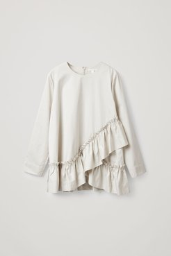 COTTON TOP WITH PLEATED HEM