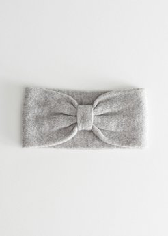 Knit Bow Headband - Grey