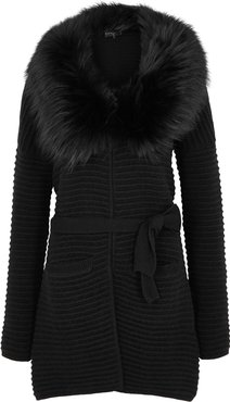 Black Fur-trimmed Wool-blend Cardigan