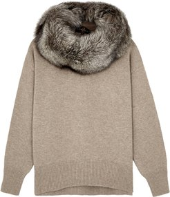 Fur-trimmed Wool-blend Jumper