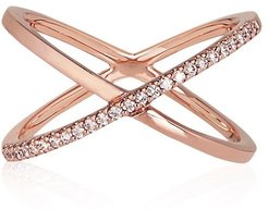 Katia Superfine Single Crossover Ring Rose Gold