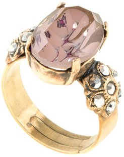 A Dusky Swirl Effect Crystal Anique Gold Ring. Adjustable Ring Shank