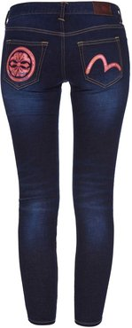 Super Skinny-fit Denim Jeans With Brocade Kamon And Seagull Applique