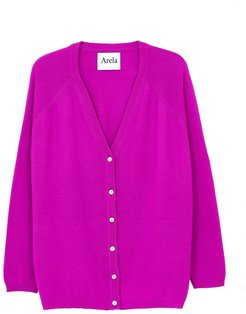 Jill Cashmere Cardigan In Bright Pink