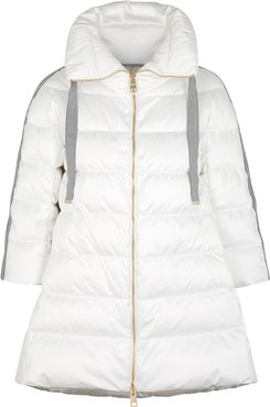 White quilted satin coat