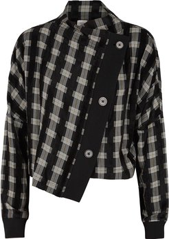 Black Checked Asymmetric Jacket