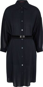 Withstand Navy Chiffon Shirt Dress