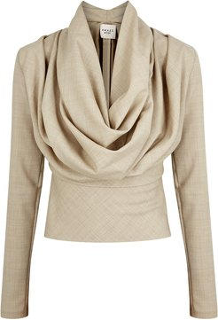 Rollercoaster Draped Sand Wool Top