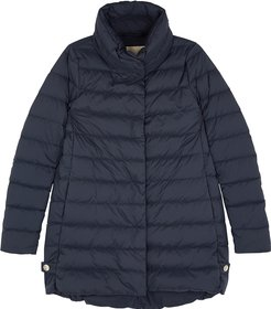 Navy quilted shell coat