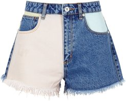 A High Relaxed Panelled Denim Shorts