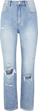 A 94 High Blue Distressed Slim-leg Jeans