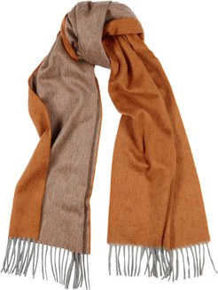 Arran Reversible Orange And Taupe Cashmere Scarf