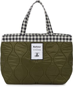Checked And Quilted Shell Tote