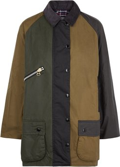 Patch Colour-block Waxed Cotton Jacket
