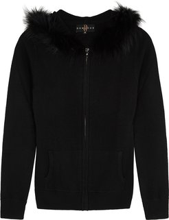 Black Fur-trimmed Wool-blend Jumper