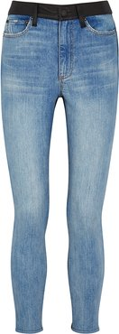 Good High Rise Leather-panelled Skinny Jeans