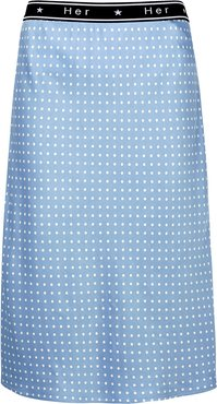 Colette Polka-dot Satin Midi Skirt