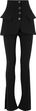 Black layered stretch-cady trousers