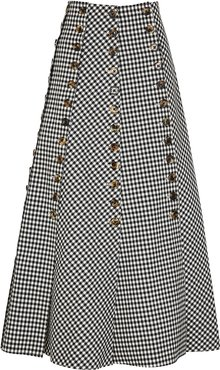 Monochrome gingham twill skirt