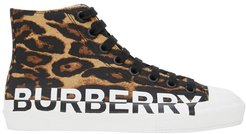 Logo Detail Leopard Print High-top Sneakers