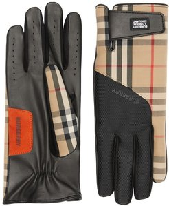Logo Applique Vintage Check And Lambskin Gloves