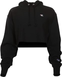 Reverse Weave(r) Cropped Cut Off Pullover Hoodie (Black) Women's Clothing