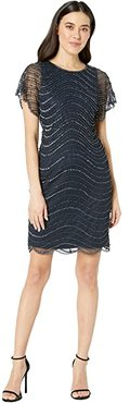 Petite Beaded Flounce Sleeve Short Dress (Midnight) Women's Dress