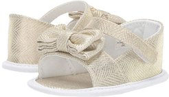 Peep-Toe Espadrille with Bow - Waddle (Infant) (Gold/White) Girls Shoes
