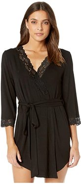Undie Couture by Coobie Jersey Robe with Lace (Black) Women's Robe