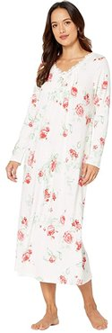 Petite Soft Jersey Long Sleeve Long Gown (Red Rose) Women's Pajama