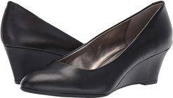 Fayola Wedge Heel (Black Leather) Women's Shoes
