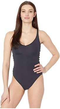 Twister Lace Down Over the Shoulder Mio One-Piece (Black) Women's Swimsuits One Piece