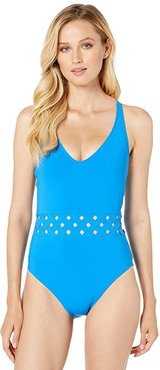 Basket Case Basket Weave Tank Mio with Removable Cups (Lapis) Women's Swimsuits One Piece