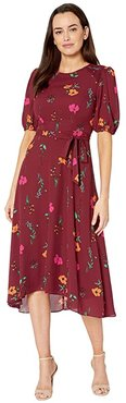 Floral Printed Elbow Sleeve High-Low Georgette Dress (Bordeaux/Electric Pink Multi) Women's Dress