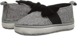 Soft Sole Slip-On with Bow (Infant) (Grey) Girl's Shoes