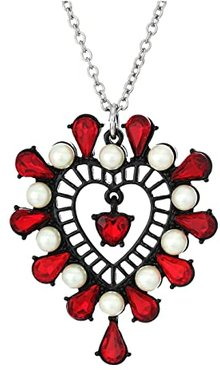 Short Heart Pendant Necklace (Red) Necklace