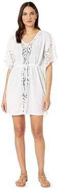 Floral Find Caftan Cover-Up (White) Women's Swimwear
