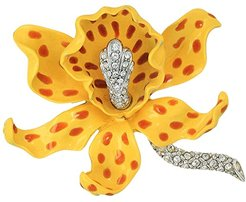 Yellow/Brown Spots Orchid Pin (Yellow/Brown) Brooches Pins