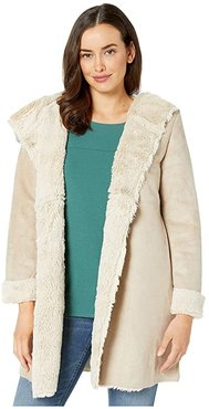 Madison City Faux Sueded Shearling Coat (Chino/Natural) Women's Coat