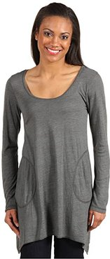 L/S Angled 2-Pocket Scoop Tunic (Cilantro) Women's Long Sleeve Pullover