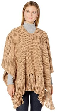 Chunky Knit Poncho with Maxi Tassels (Teak) Women's Clothing