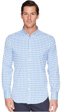 Shaped Fit Gingham Plaid Woven Shirt (Classic Blue) Men's Clothing