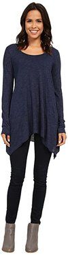 L/S Angled 2-Pocket Scoop Tunic (Lapis) Women's Long Sleeve Pullover