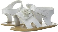 Soft Sole Sandal with Flower (Infant) (White) Girls Shoes
