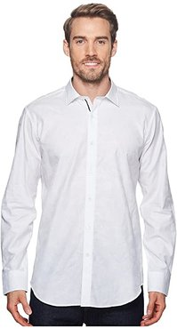 Shaped Fit Woven Shirt (White) Men's Long Sleeve Pullover