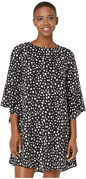 Ivy Polka Dot Dress with Flared Sleeves (Black/White) Women's Clothing