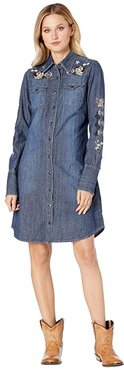 Shirtweight Denim Dress with Rose Embroidery (Blue) Women's Clothing